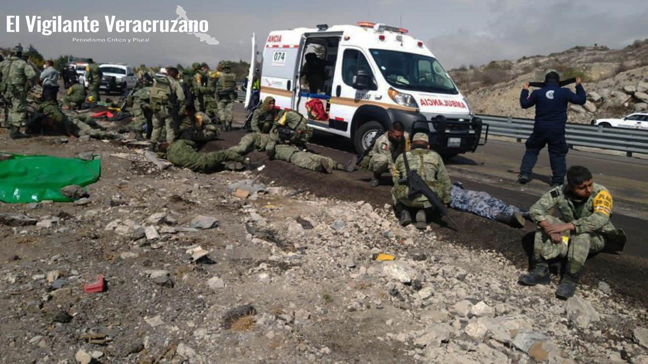 Se accidenta camión del Ejército Mexicano en Cuacnopalan, Puebla
